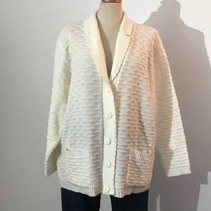 Vintage Cream Button Up Knit Cardigan